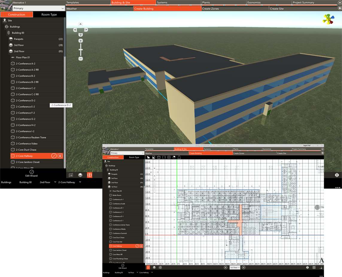 Trace 3d plus trane commercial for Building design tool