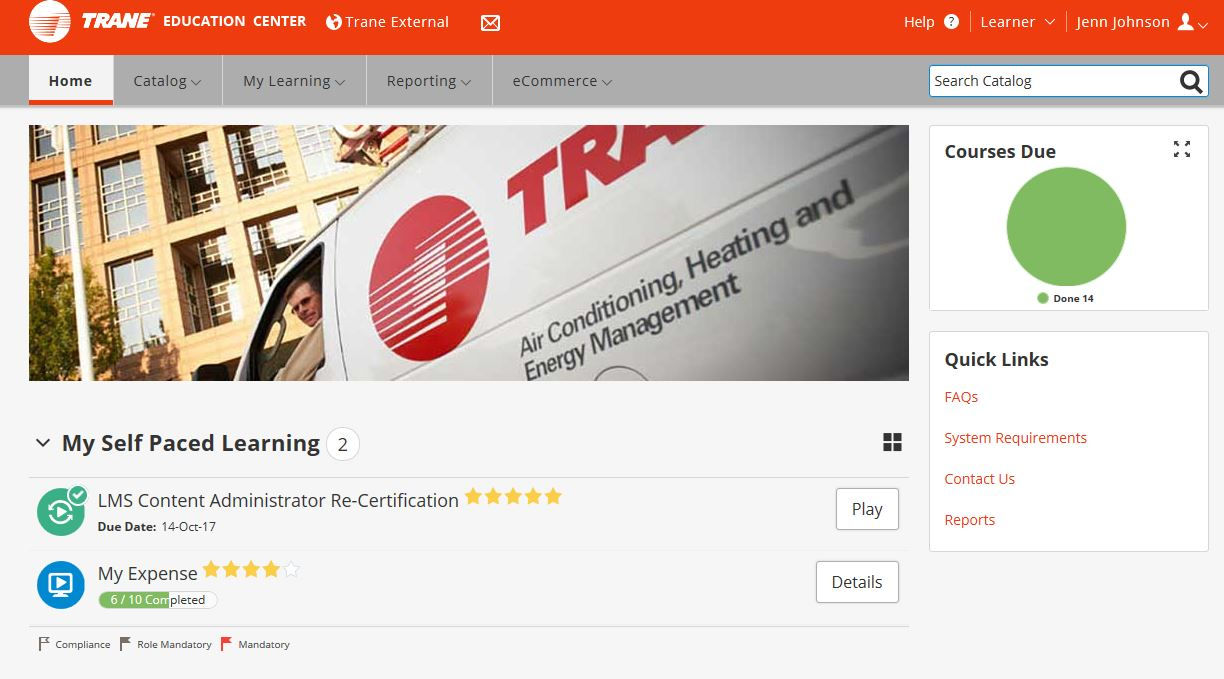 Technical service training use the filters to easily find courses select trane corporate and factory training under class type for trane university courses xflitez Choice Image