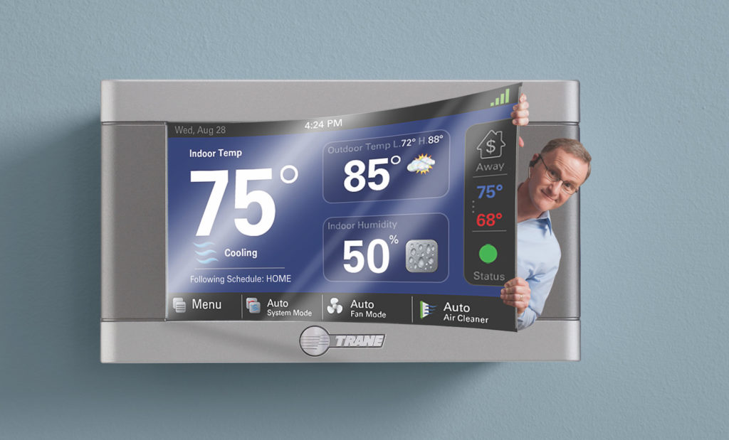 Smart thermostat with dealer picture