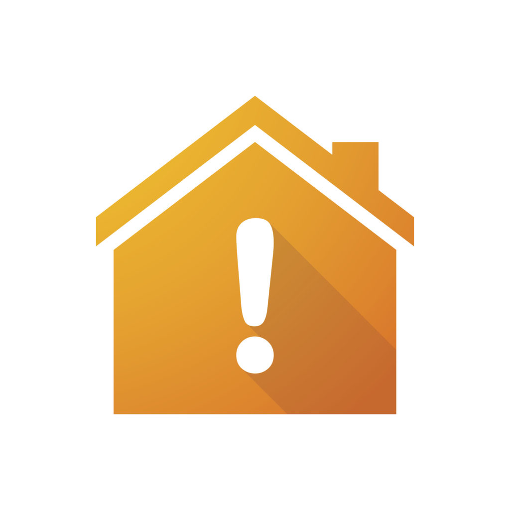 House icon with warning exclamation sign